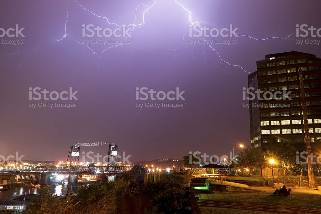 Electrical Storm Lightning Strikes Bolts Murray Morgan Bridge Wa royalty-free stock photo