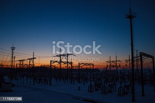 Electrical substation at night on long exposure shot