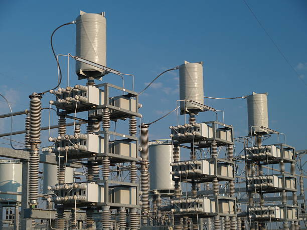 electrical substation detail #2 - capacitor stock photos and pictures