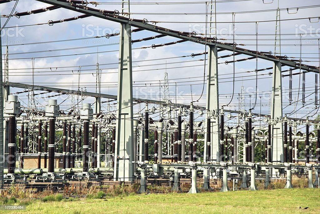 Electrical substation stock photo