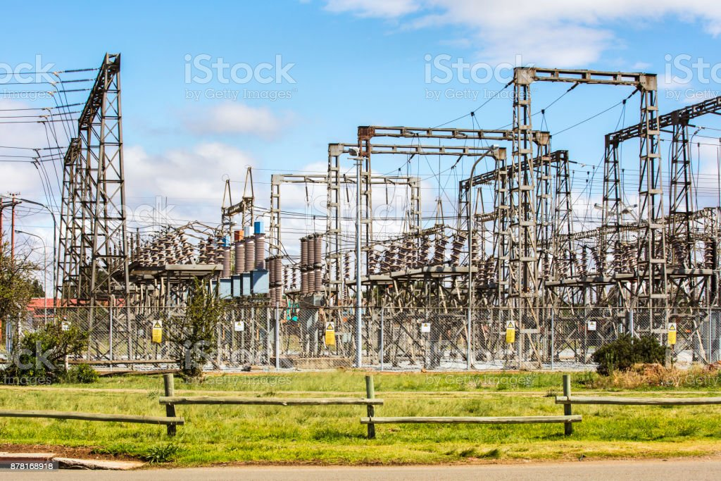Electrical substation with cables and wires stock photo