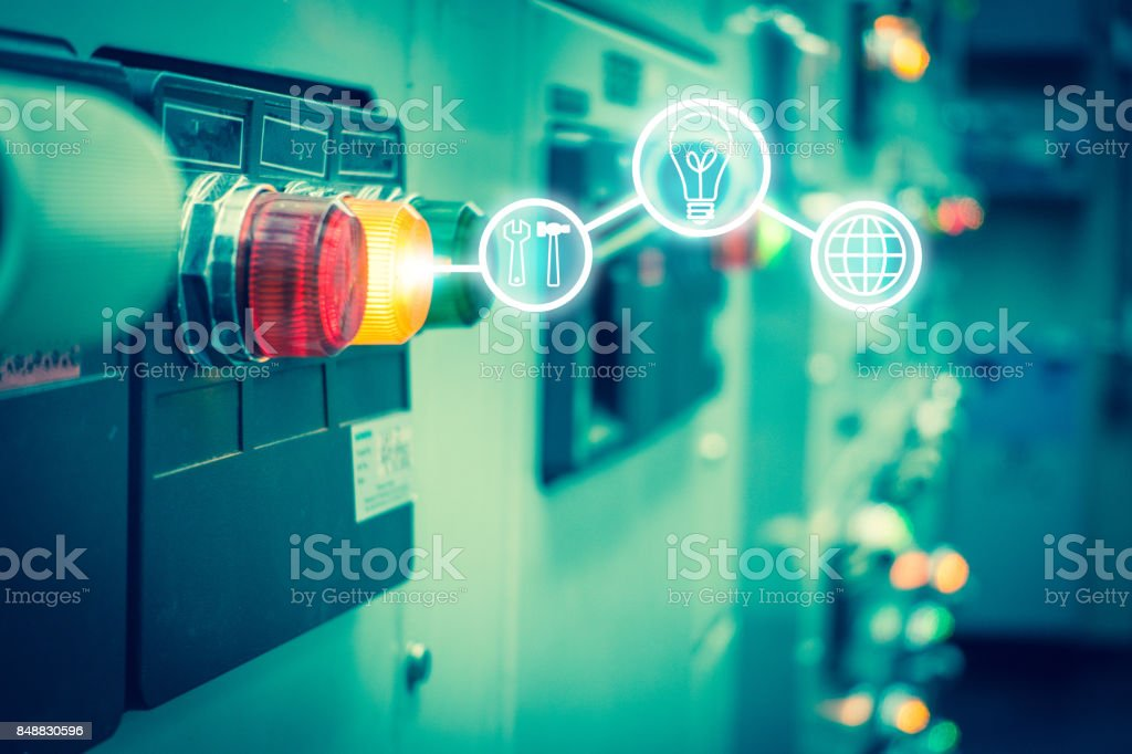 Electrical switchgear room,Industrial electrical switch panel on plant  and process control with business icon tools in grainy style. stock photo