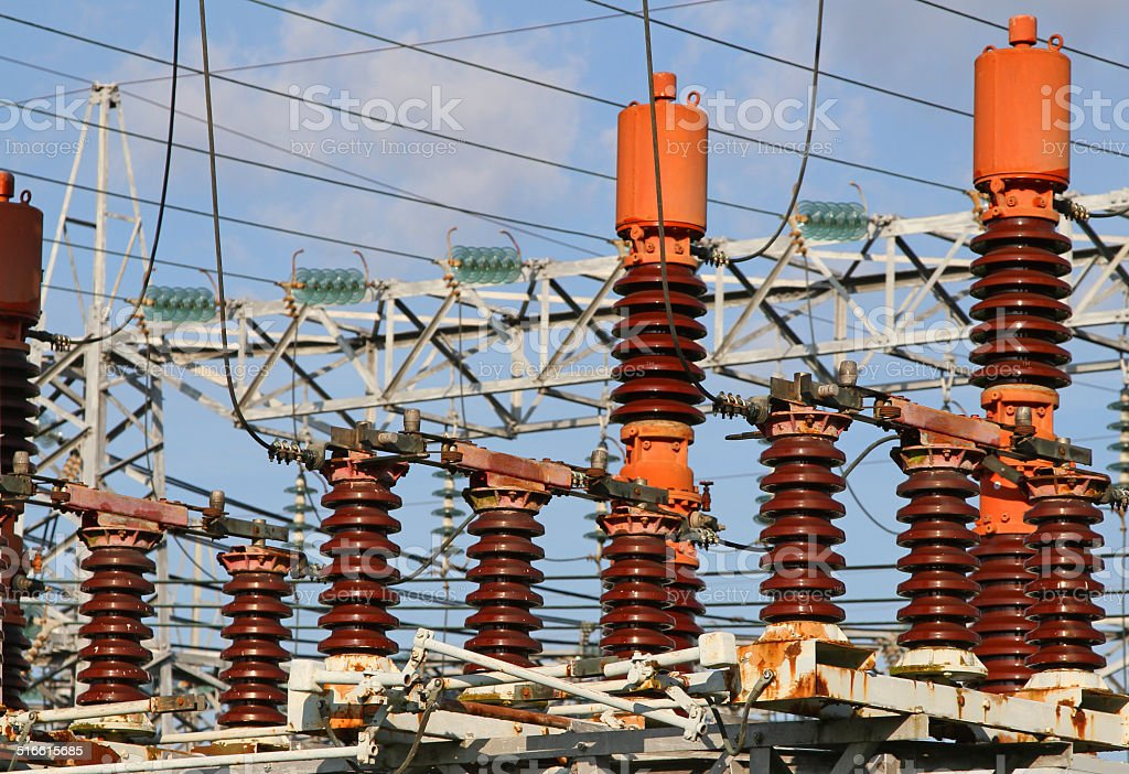 electrical system of the power plant to produce electricity stock photo