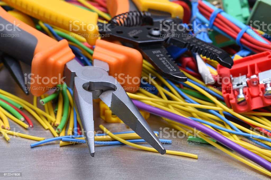 Electrical Tools And Cables Used In Electrical Installations Stock ...