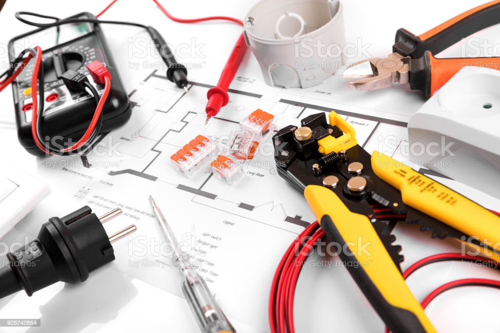 Electrical tools and equipment on house circuit diagram stock photo electrical tools and equipment on house circuit diagram royalty free stock photo ccuart Image collections