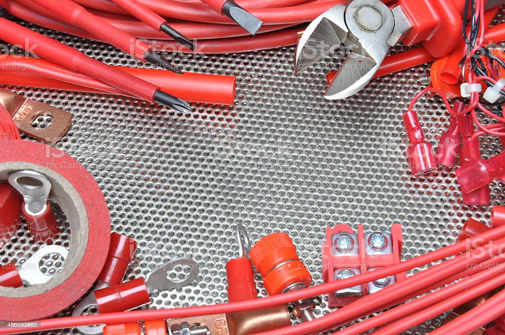 Electrical tools, component and cables stock photo
