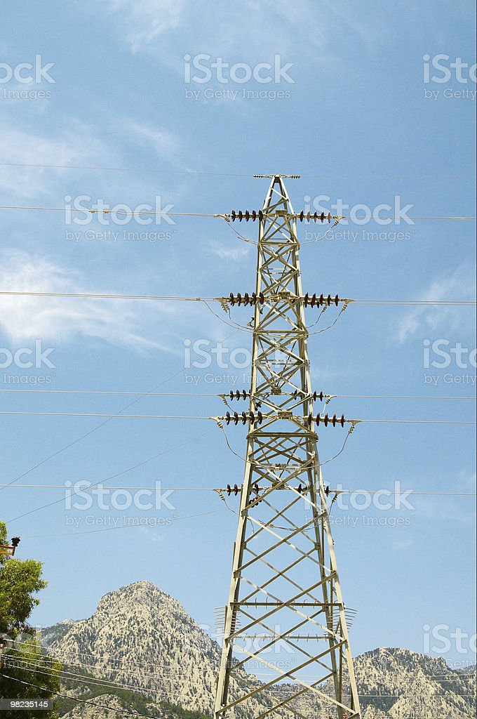 Electrical tower on a background of the clear blue sky royalty-free stock photo