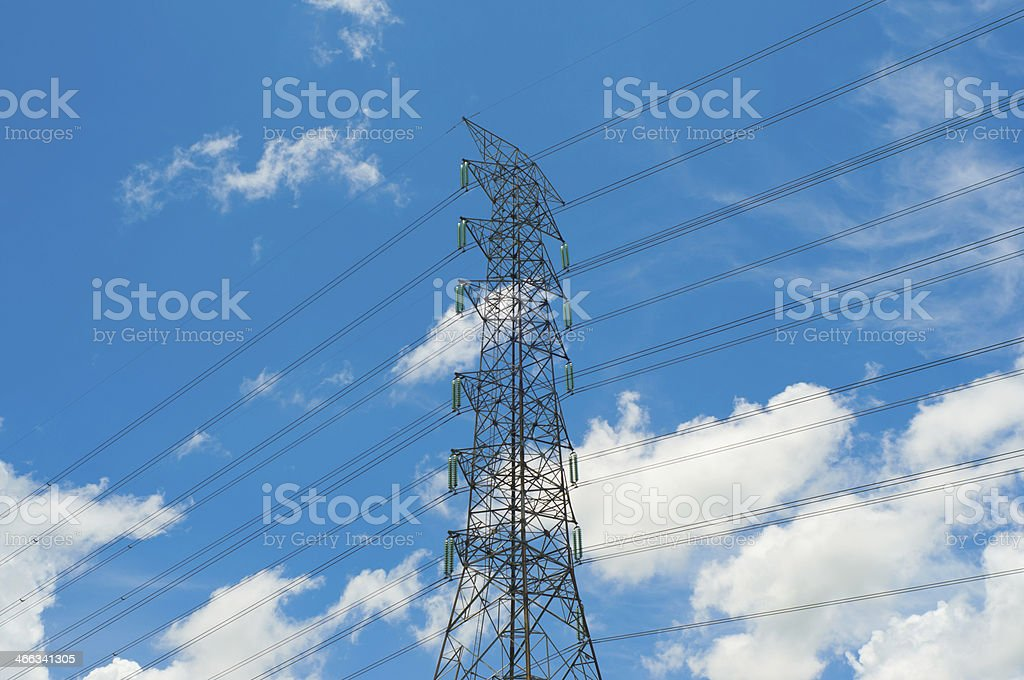 Electrical tower over a blue sky background royalty-free stock photo