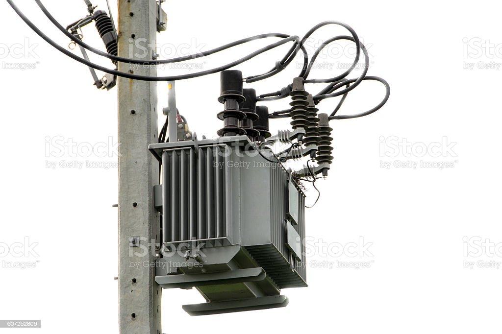 Electrical Transformer Of Electrical Pylon Stock Photo