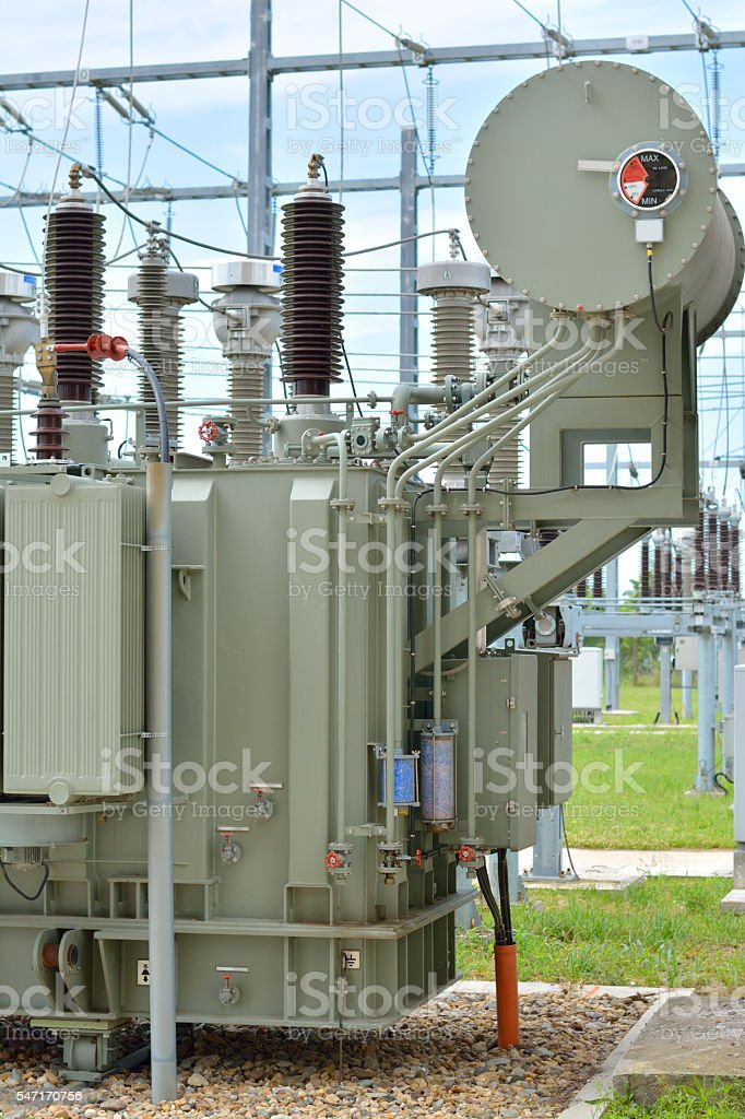 Electrical transformer stock photo