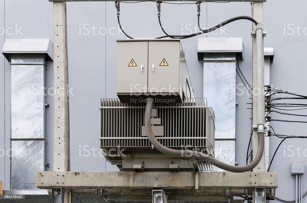 Electrical transformer unit. stock photo