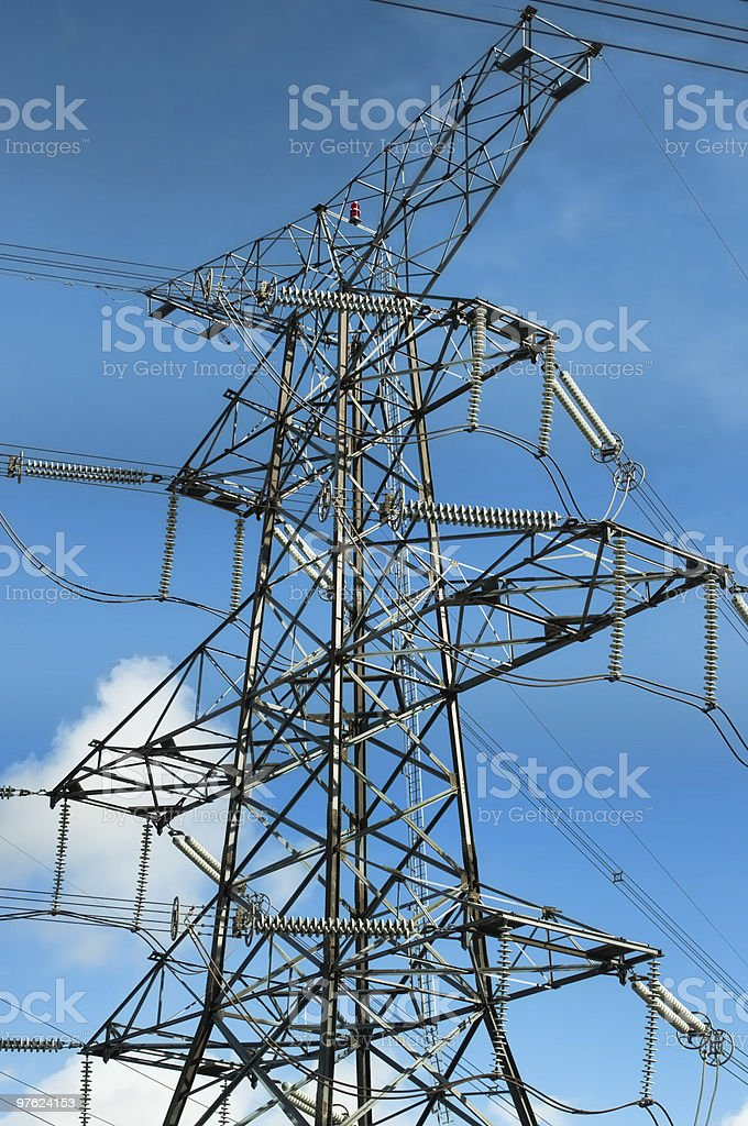 Electrical Transmission Tower (Electricity Pylon) with Blue Sky royalty-free stock photo
