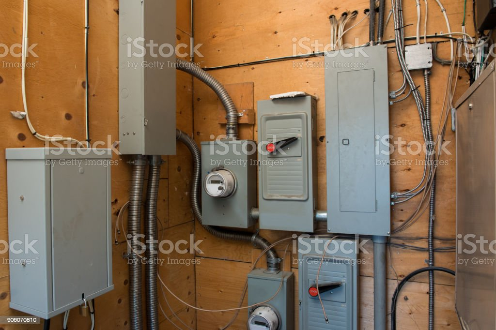 Electrical Utilities Room stock photo