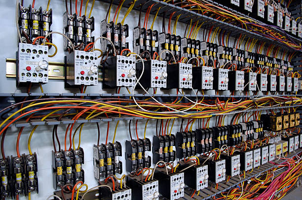 electrical wiring panel - control panel stock photos and pictures