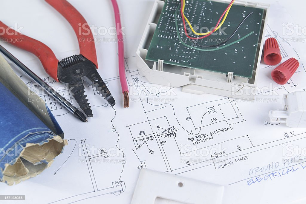 electrical works royalty-free stock photo