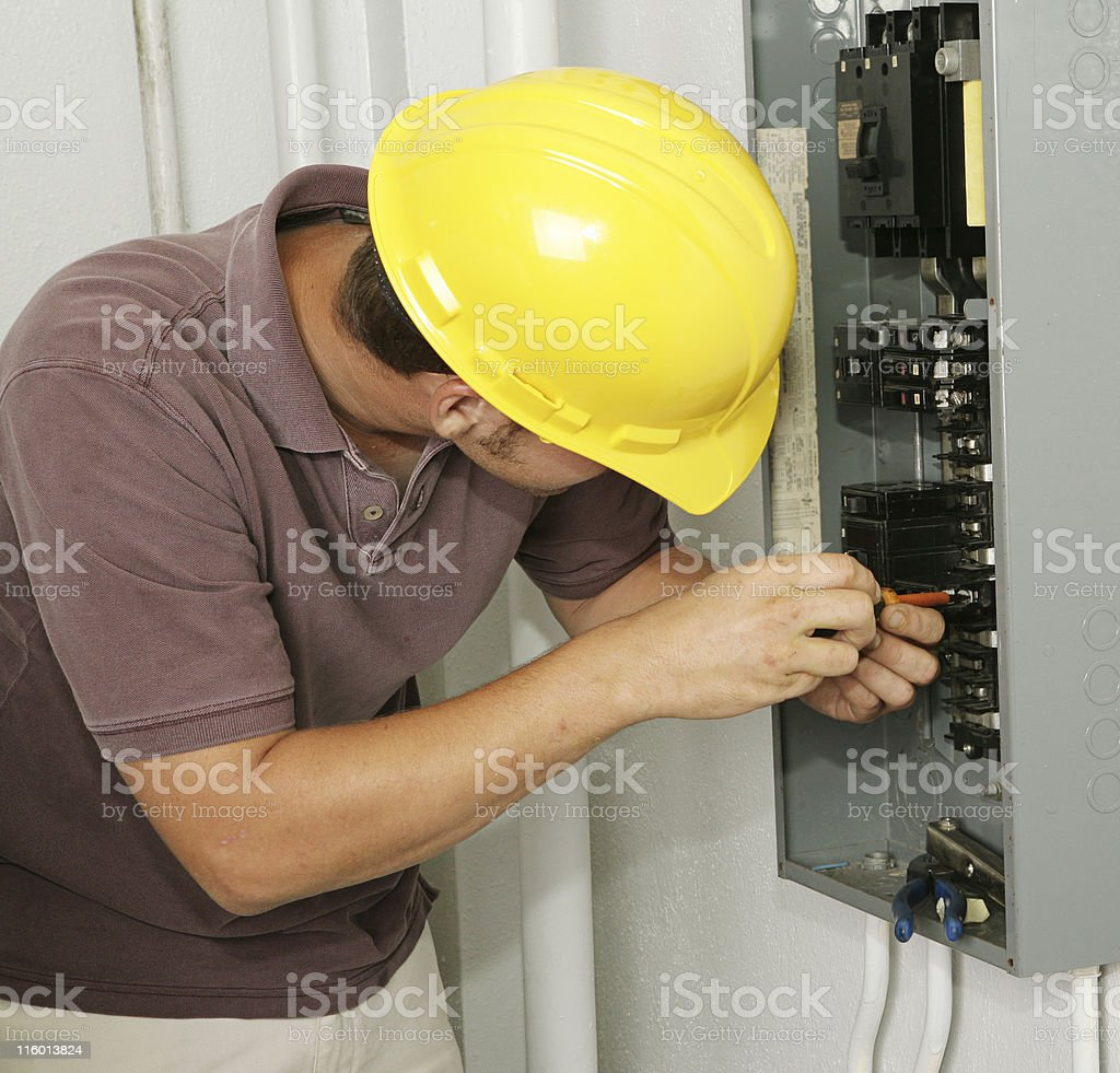 Electrician & Breaker Panel royalty-free stock photo