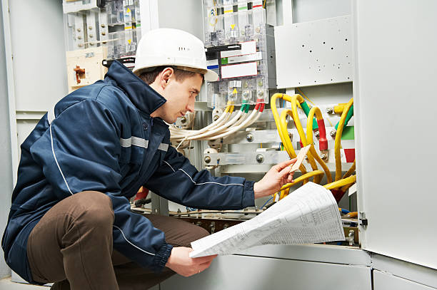 electrician checking cabling power line - control panel stock photos and pictures