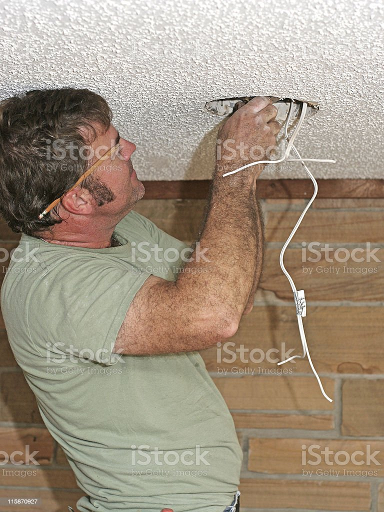 Electrician Connecting Wires royalty-free stock photo