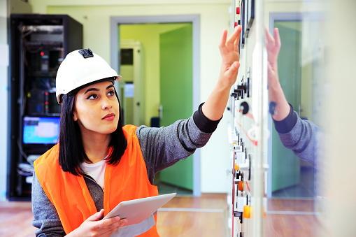 Electrician engineer worker.
