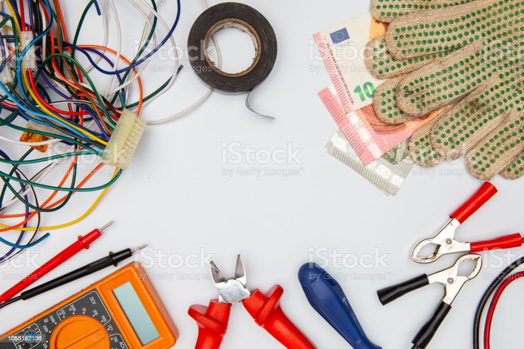 Electrician Equipment On White Background With Copy Space Top View Stock Photo Download Image Now Istock