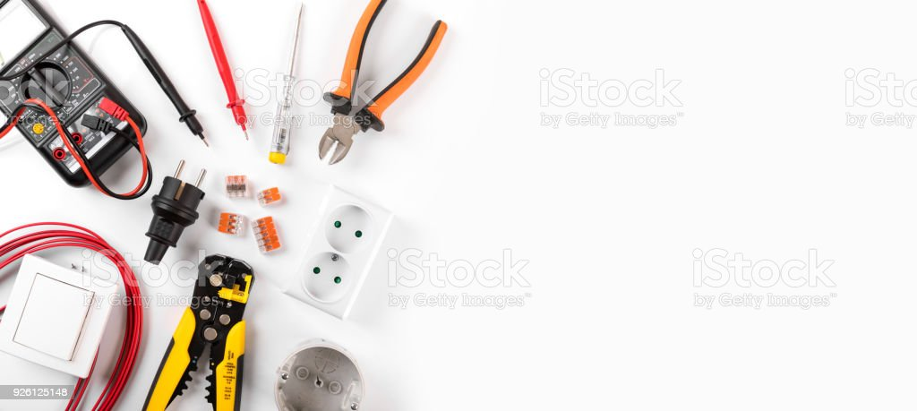 electrician equipment on white background with copy space. top view stock photo