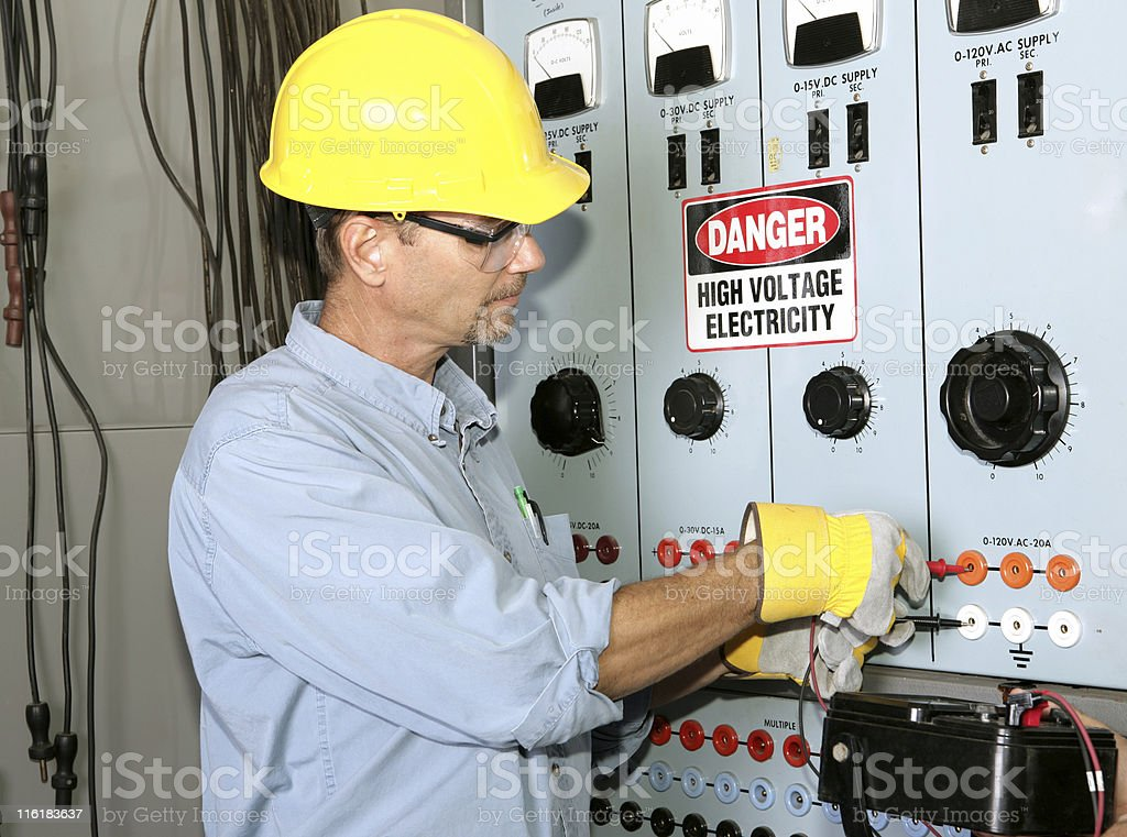 Electrician High Voltage stock photo