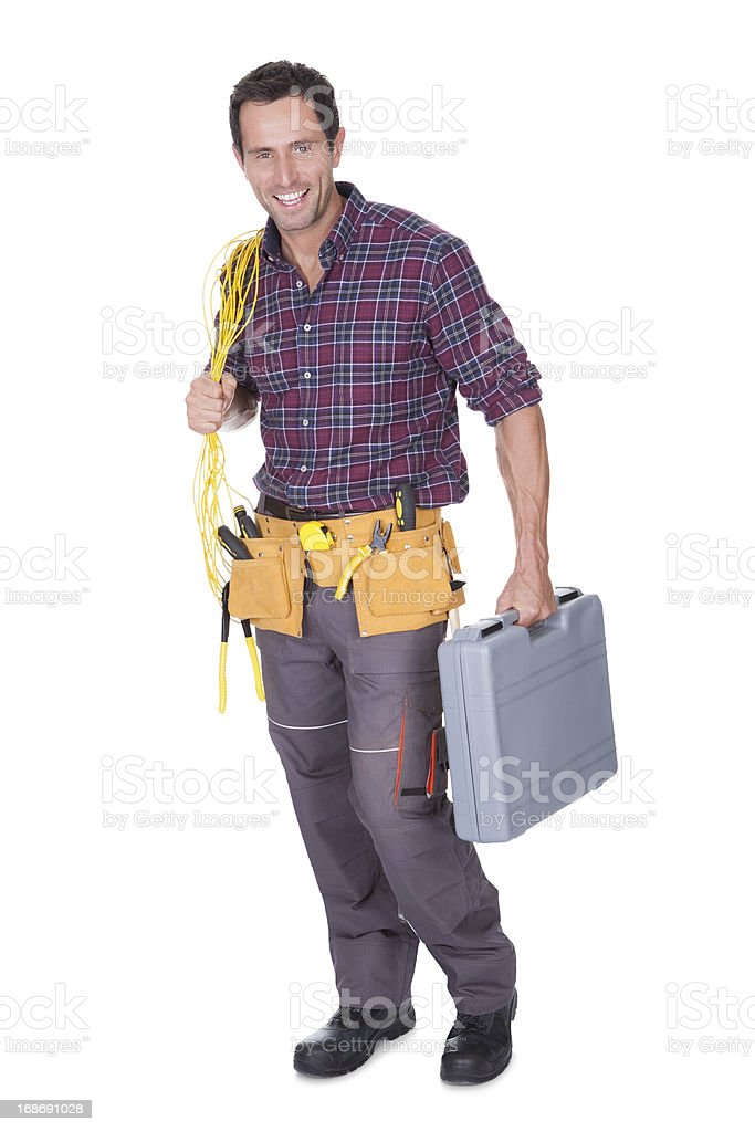 Electrician Man Holding Cable And Toolbox royalty-free stock photo