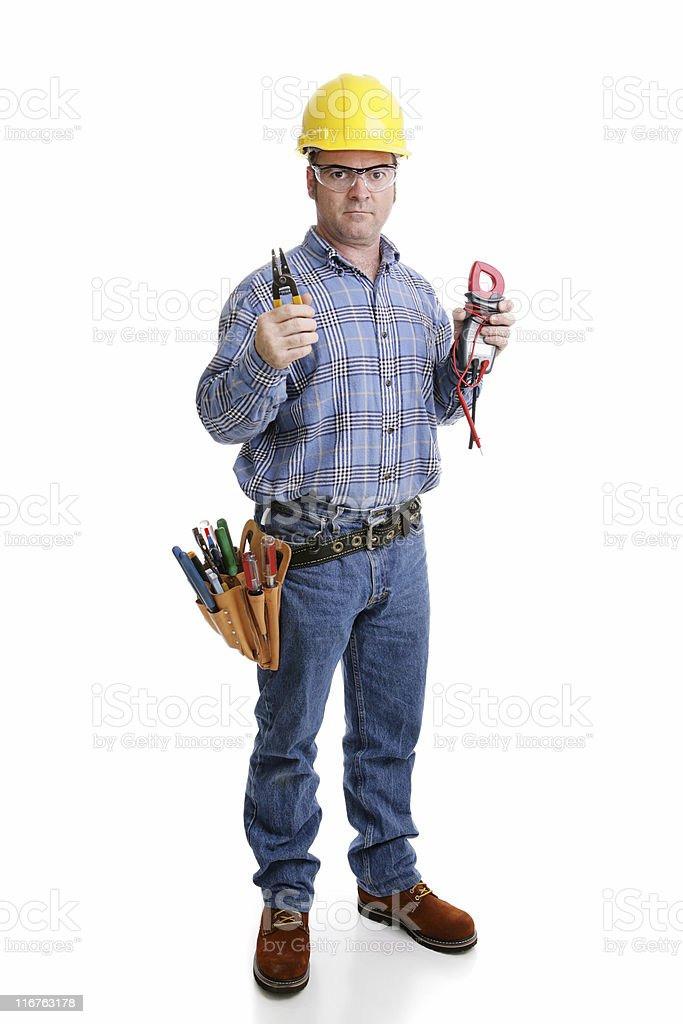 Electrician Ready for Work royalty-free stock photo