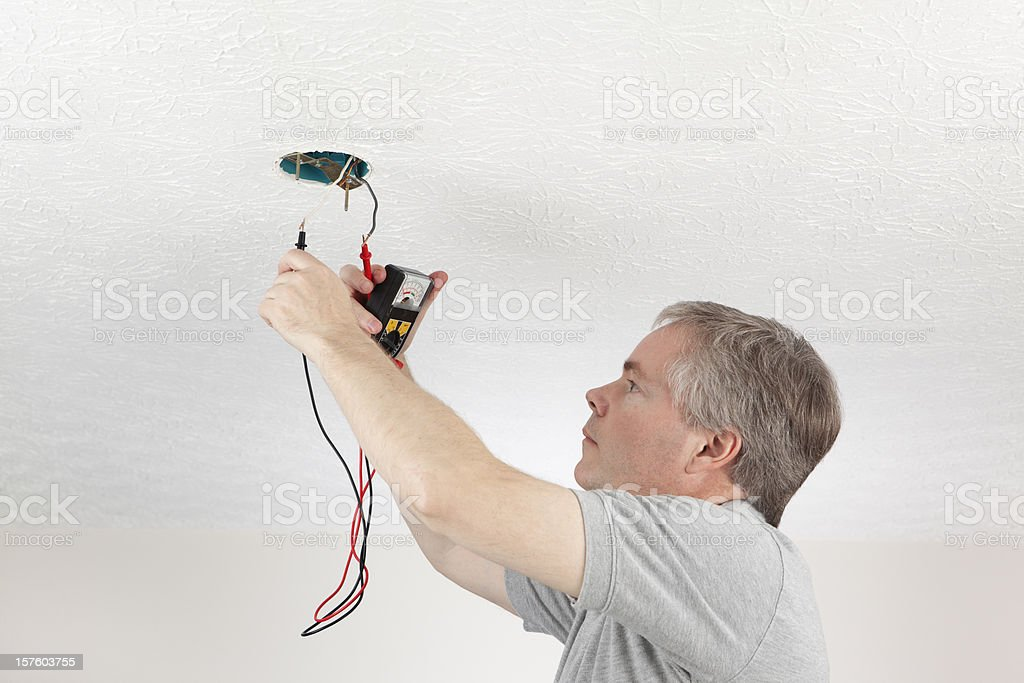 Electrician Testing Voltage royalty-free stock photo