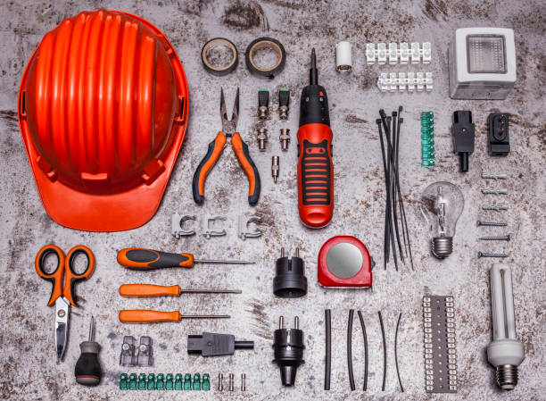 electrician tools background stock photo
