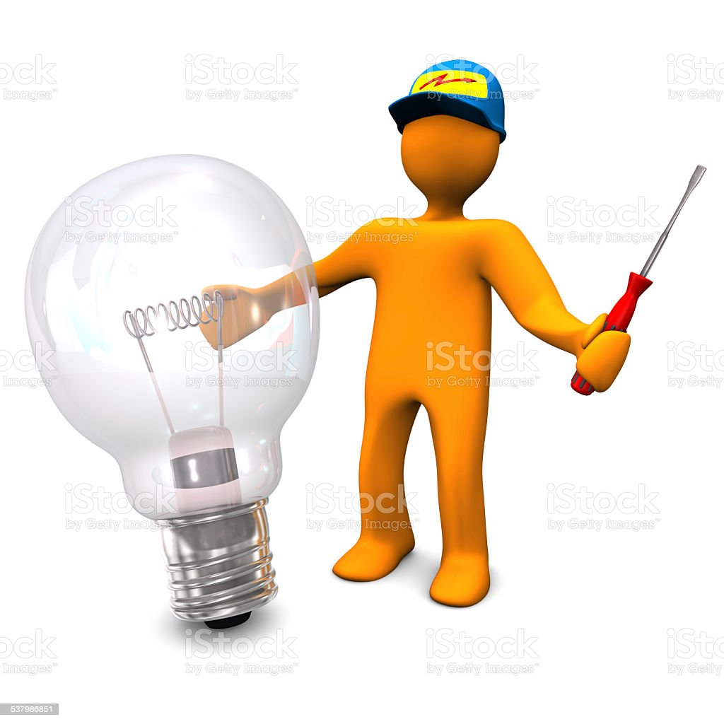 Electrician With Bulb stock photo
