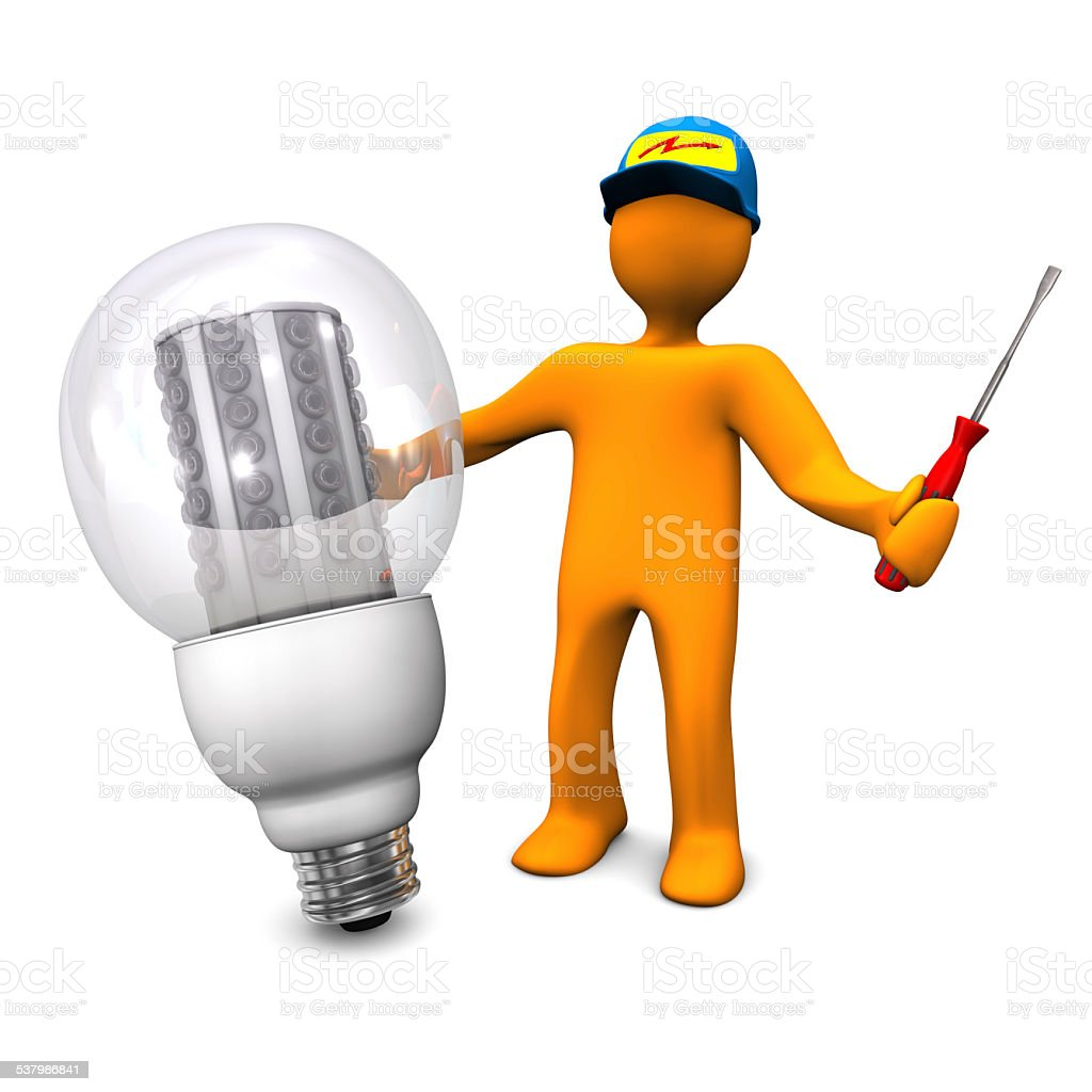 Electrician With LED Bulb stock photo