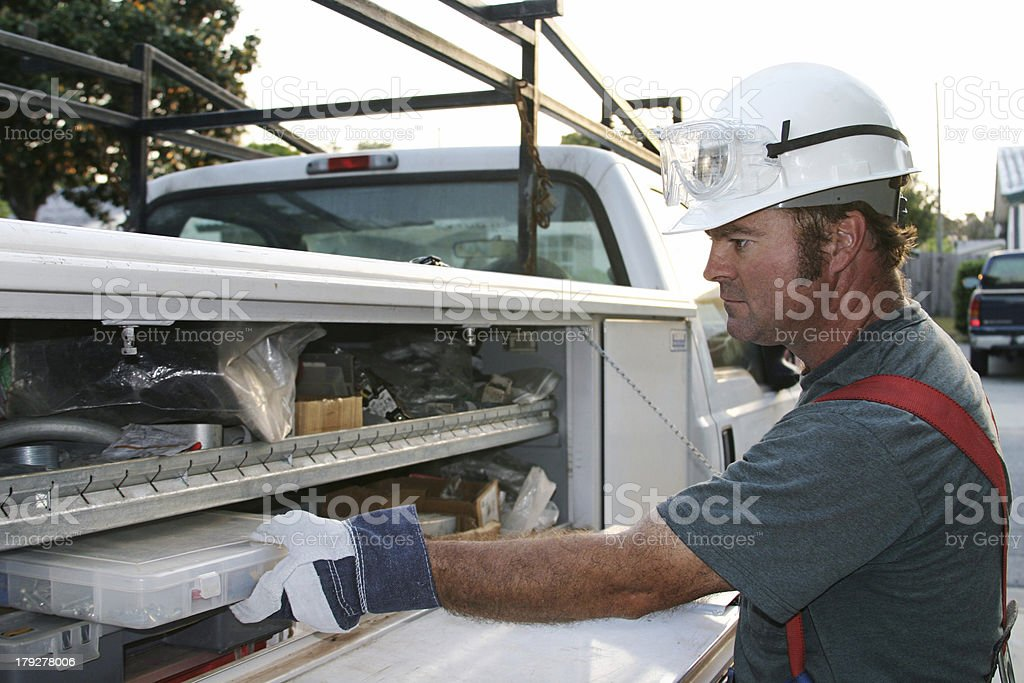 Electrician With Service Truck stock photo
