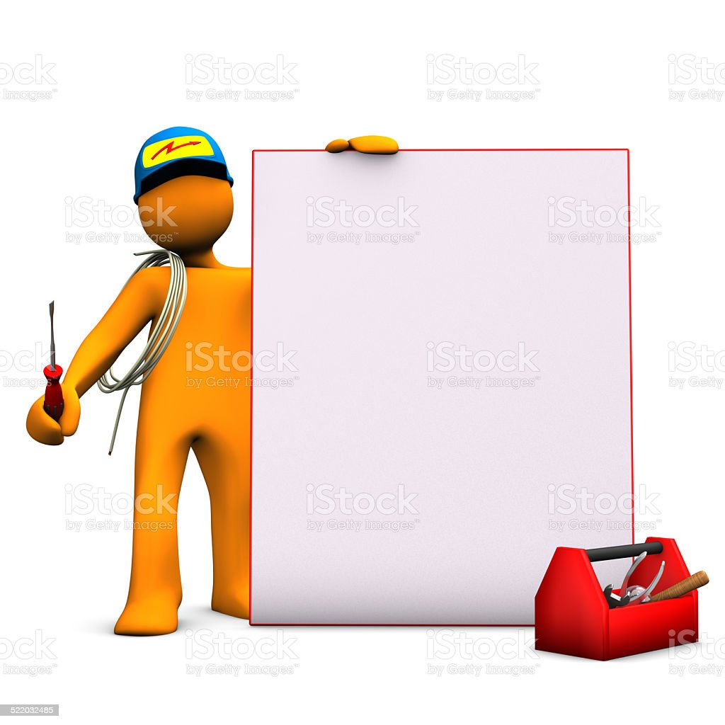 Electrician With Signboard stock photo