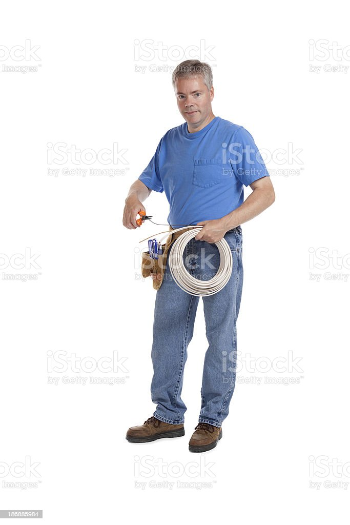 Electrician With Wire royalty-free stock photo
