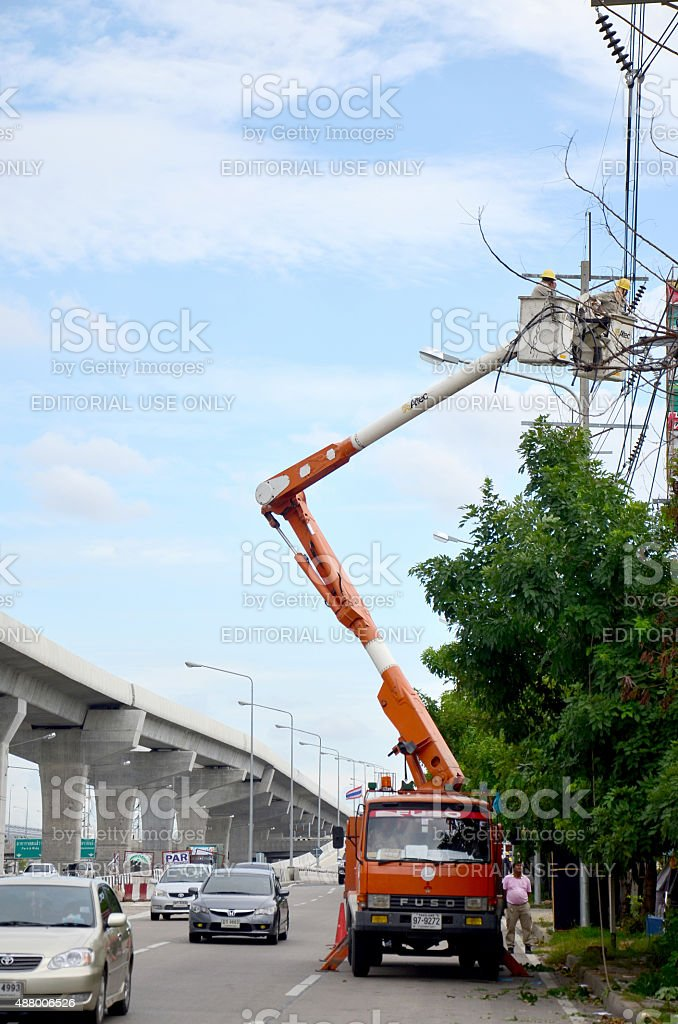 Electrician worker of Metropolitan Electricity Authority working stock photo