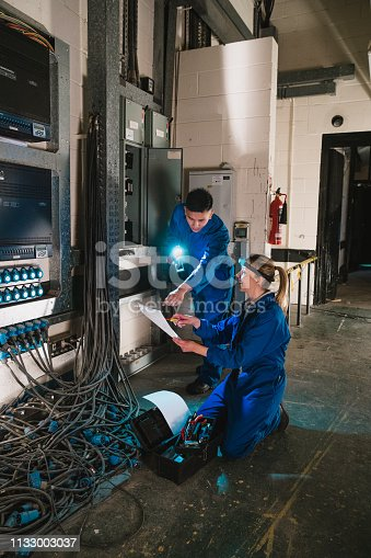 istock Electricians Fixing a Switch Board 1133003037
