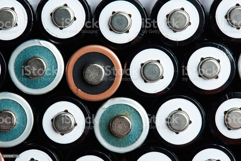 Electricity AA size battery background stock photo