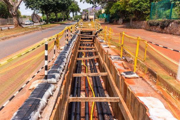 strom kabel installation - unterirdisch stock-fotos und bilder