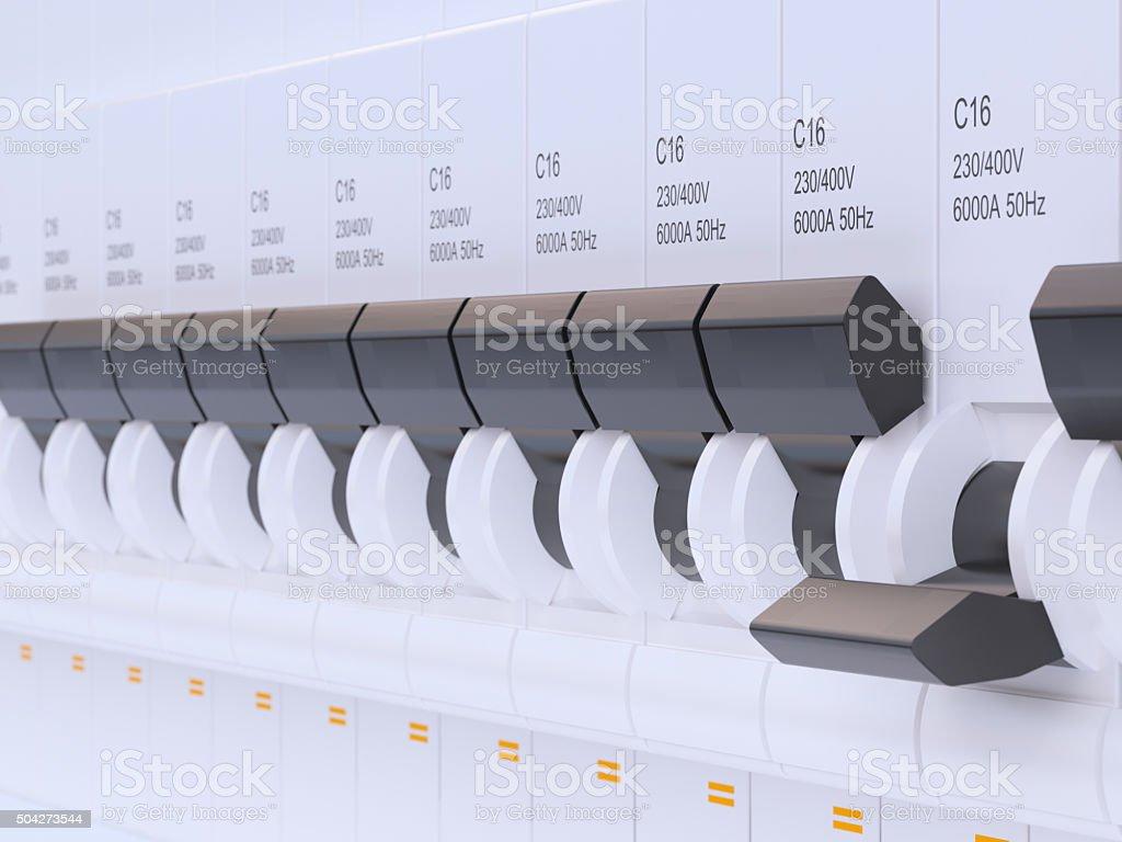 Electricity circuit breaker stock photo