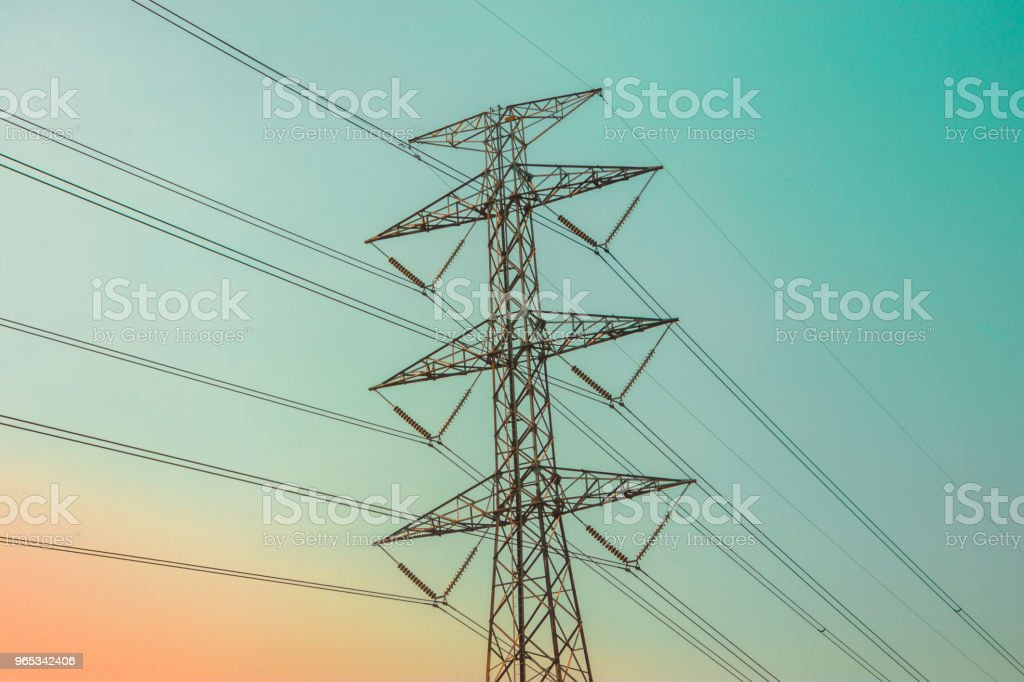 Electricity concept. Close up high voltage power lines station. royalty-free stock photo
