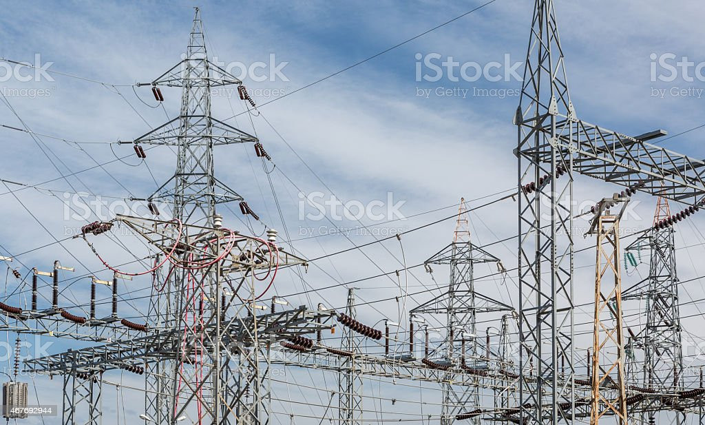 Electricity distribution infrastructure stock photo