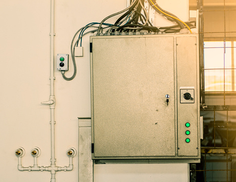 Electricity Energy Control Industrial Fuse Box In Factory Stock Photo - Download Image Now