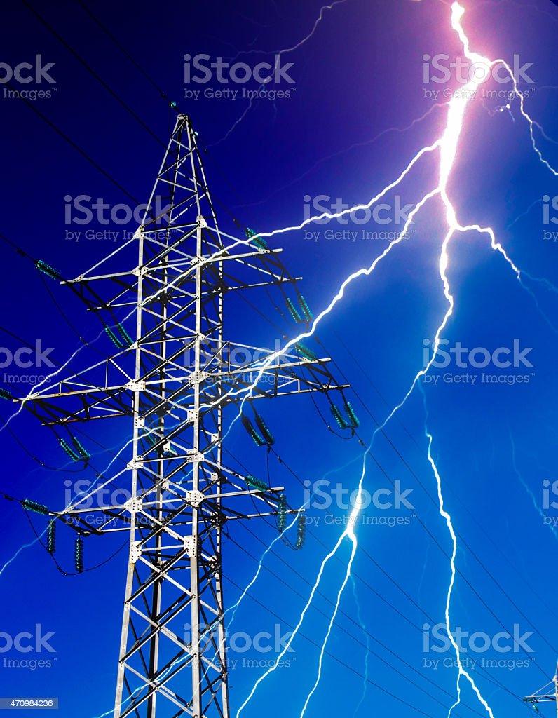 Electricity Energy Pylon with Lightning stock photo