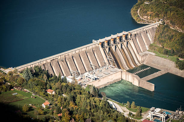 Electricity from hydropower plants stock photo