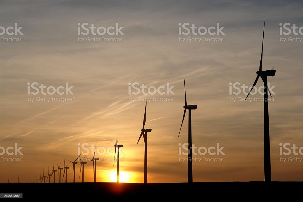 Electricity generating windmills royalty-free stock photo