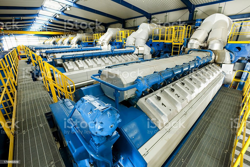 electricity generators at plant stock photo
