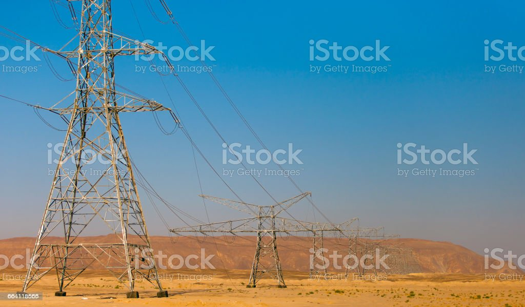 Electricity in the desert foto stock royalty-free