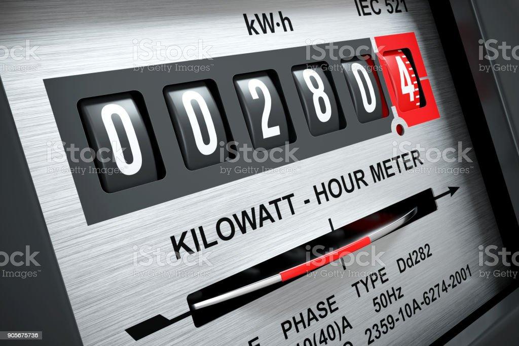 Electricity kilowatt hour meter close stock photo