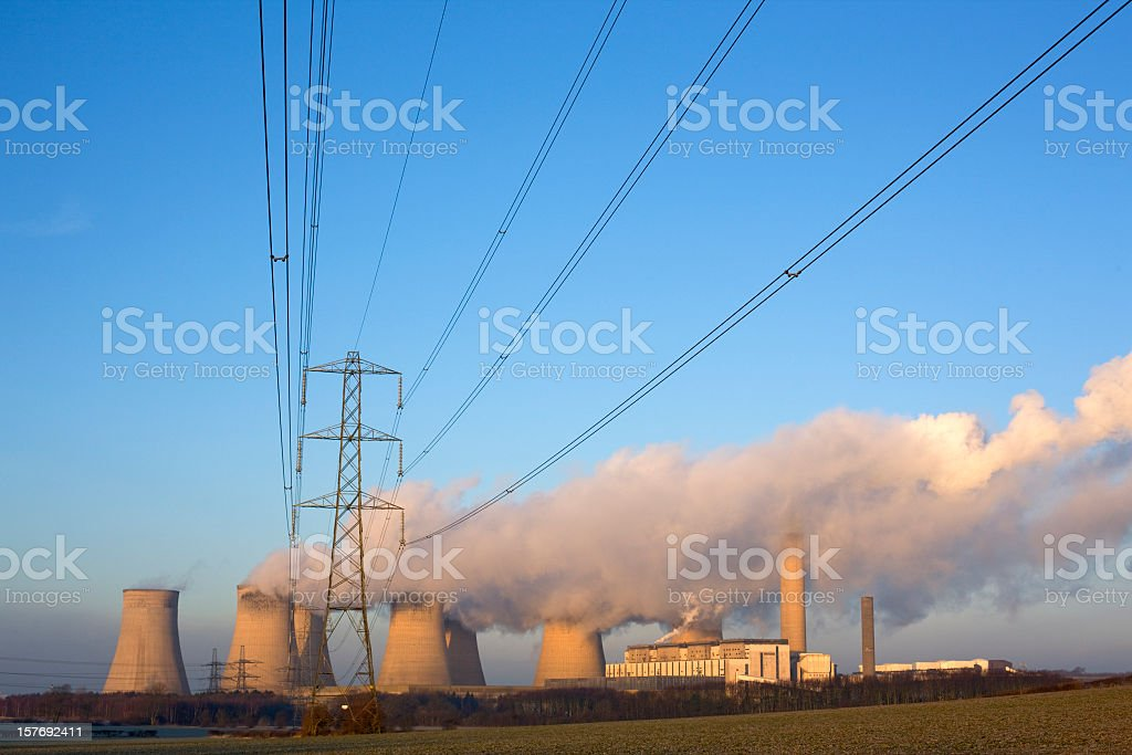 Electricity lines and power station. stock photo